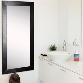 American Made Rayne Black Wide Leather 31 x 66-inch Tall Vanity Wall Mirror