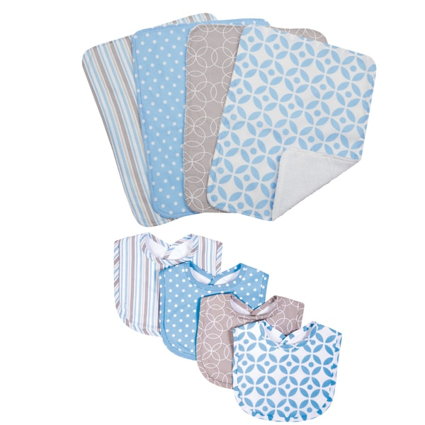 Trend Lab Logan 8-piece Bib and Burp Cloth Set
