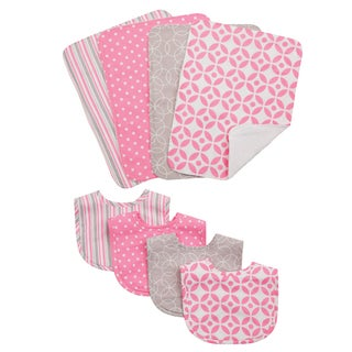 Trend Lab Lily 8-piece Bib and Burp Cloth Set