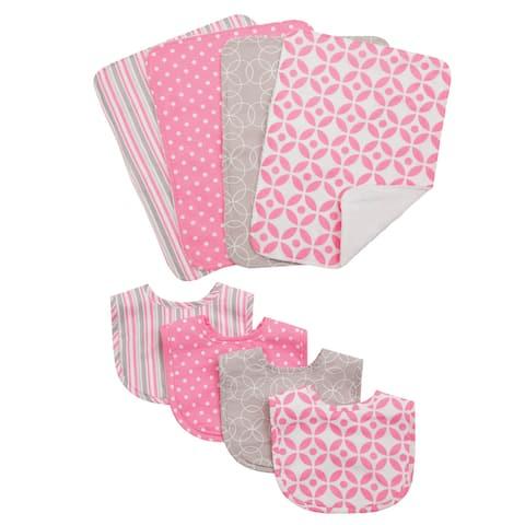 Trend Lab Lily 8-piece Bib and Burp Cloth Set