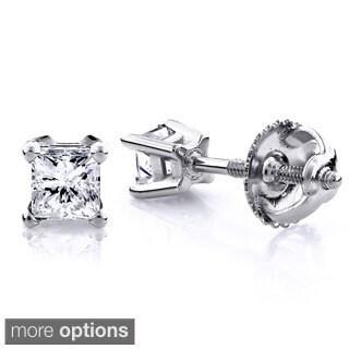 Luxurman 14k Gold 1/2ct TDW Princess Cut Diamond Stud Earrings