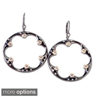 Sonia Bitton Two-tone Plated Sterling Silver Flower Cut-out Earrings