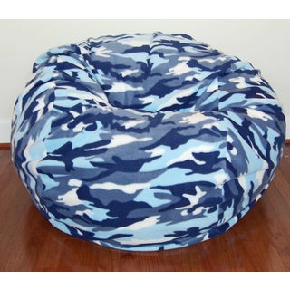 Washable Anti-pill Fleece Blue Camouflage 36-inch Bean Bag Chair