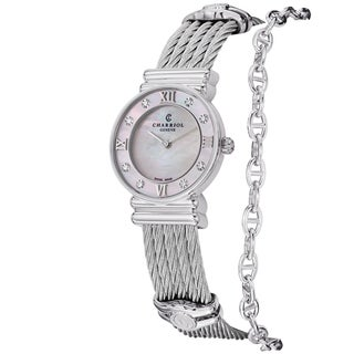 Charriol Women's 028SD1.540.552' 'St Tropez' Mother of Pearl Diamond Dial Stainless Steel Watch