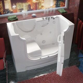 MediTub Wheelchair Accessible 30x60-inch Right Drain White Whirlpool & Air Jetted Walk-In Bathtub