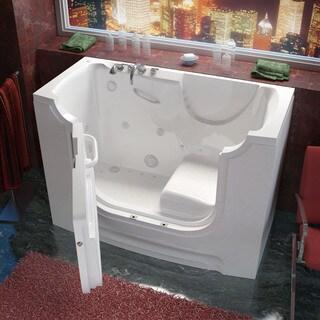 MediTub Wheelchair Accessible 30x60-inch Left Drain White Whirlpool & Air Jetted Walk-In Bathtub