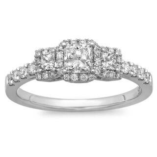 Azaro 14k White Gold 3/4ct TDW Princess-cut Diamond Halo Engagement Ring (G-H, SI2-I1)
