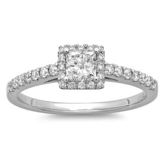 Azaro 14k White Gold 3/5ct TDW Princess-cut Diamond Halo Engagement Ring (G-H, SI2-I1)