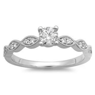 Azaro 14k White Gold 1/2ct TDW Round Diamond Engagement Ring