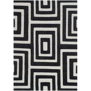 Safavieh Hand-knotted Santa Fe Modern Abstract Silver/ Black Wool Rug (4' x 6')