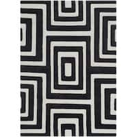 Safavieh Hand-knotted Santa Fe Modern Abstract Silver/ Black Wool Rug - 4' x 6'