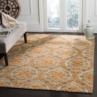 Safavieh Hand-knotted Santa Fe Ogee Teal/ Gold Wool Rug - 4' x 6'