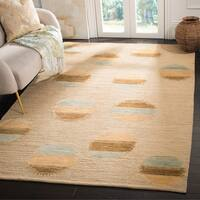 Safavieh Hand-knotted Santa Fe Modern Abstract Beige Wool Rug - 4' x 6'