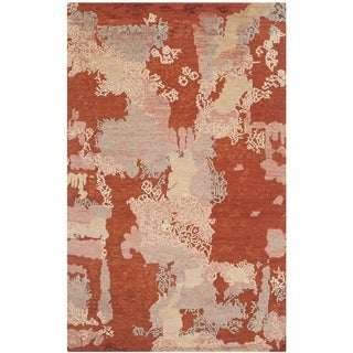 Safavieh Hand-knotted Santa Fe Modern Abstract Rust/ Multi Wool Rug (4' x 6')