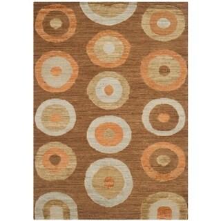 Safavieh Hand-knotted Santa Fe Modern Abstract Chocolate Wool Rug (4' x 6')