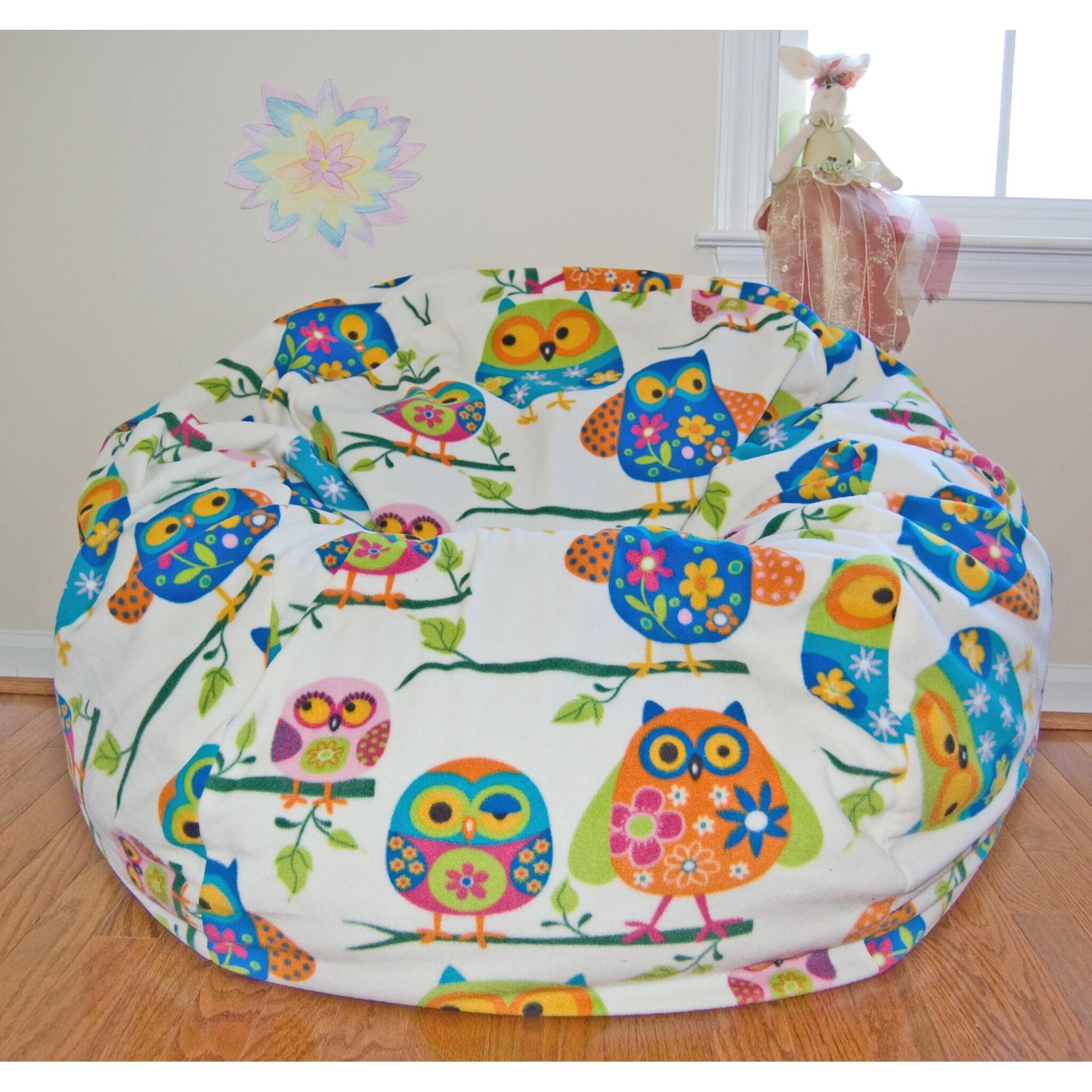 Ahh Products Pretty Owls Anti-pill Fleece Washable Bean B...