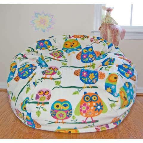 Pretty Owls Anti-pill Fleece Washable Bean Bag Chair