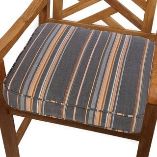 Grey/ Orange Stripe Indoor/ Outdoor 20-inch Chair Cushion with Sunbrella Fabric