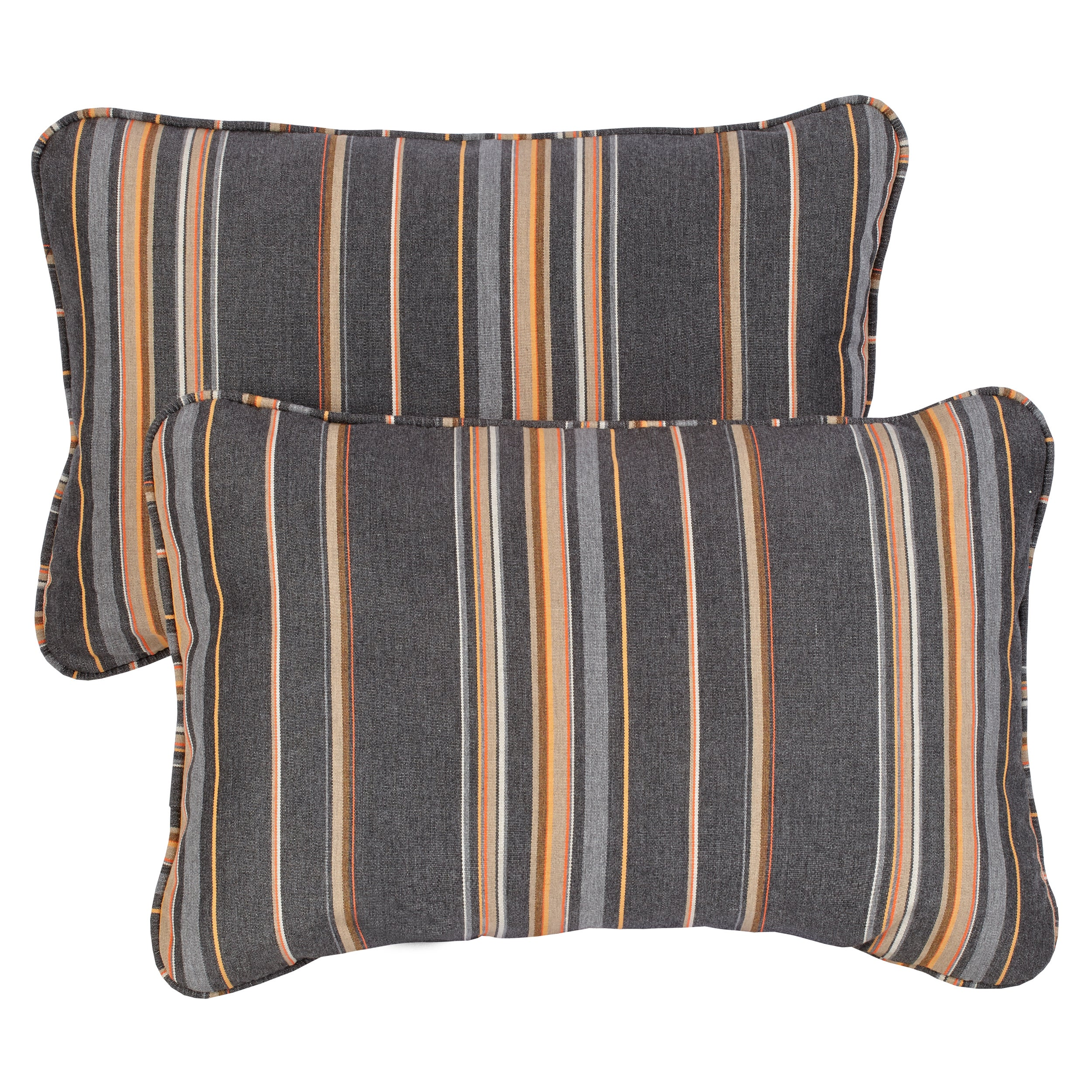 Grey Orange Stripe Corded 13 X 20 Inch