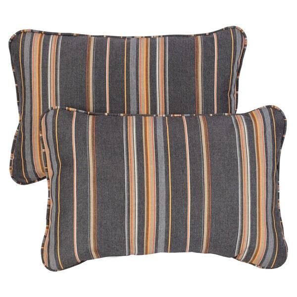 Grey Orange Stripe Corded 13 X 20 Inch Indoor Outdoor