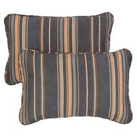 Grey/ Orange Stripe Corded 13 x 20 inch Indoor/ Outdoor Pillows with Sunbrella Fabric (Set of 2)