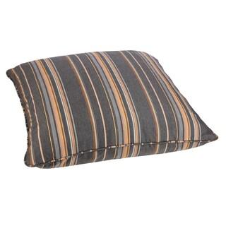 Grey/ Orange Stripe 26-inch Square Indoor/ Outdoor Floor Pillow with Sunbrella Fabric