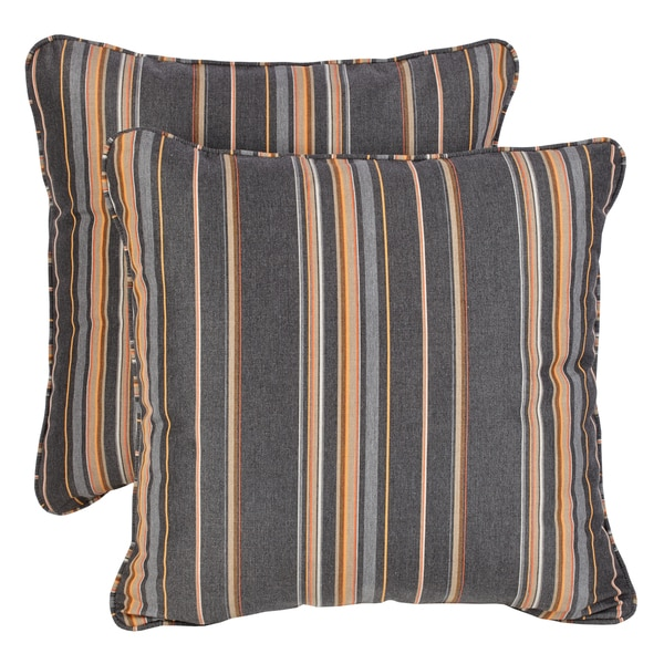 Sunbrella Grey/ Orange Stripe Indoor/ Outdoor Corded Square Throw Pillows (Set of 2)