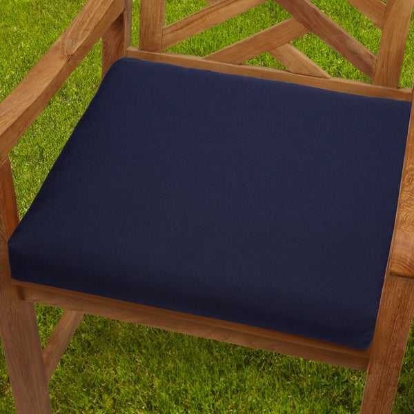 Bristol 19 Inch Indoor Outdoor Navy Blue Chair Cushion With Sunbrella Fabric
