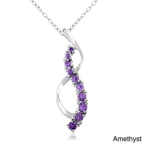 Glitzy Rocks Sterling Silver Gemstone Journey Ribbon Necklace