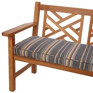 Grey/ Orange Stripe 48-inch Corded Indoor/ Outdoor Bench Cushion with Sunbrella Fabric