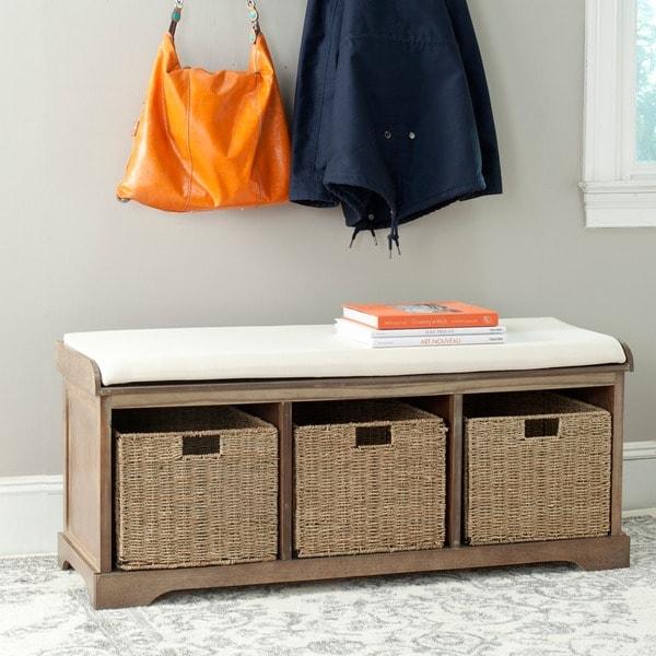 Shop Safavieh Lonan Grey Wash/ White Storage Bench