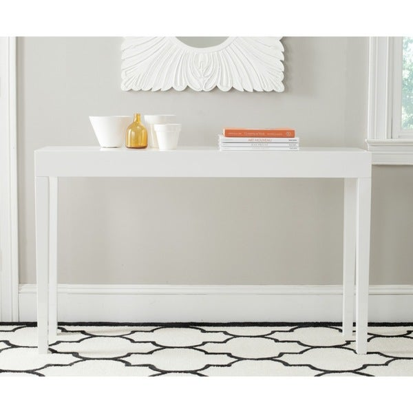 Beau Safavieh Kayson White Lacquer Console Table