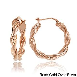 Mondevio Sterling Silver High Polished Braid Twist Hoop Earrings