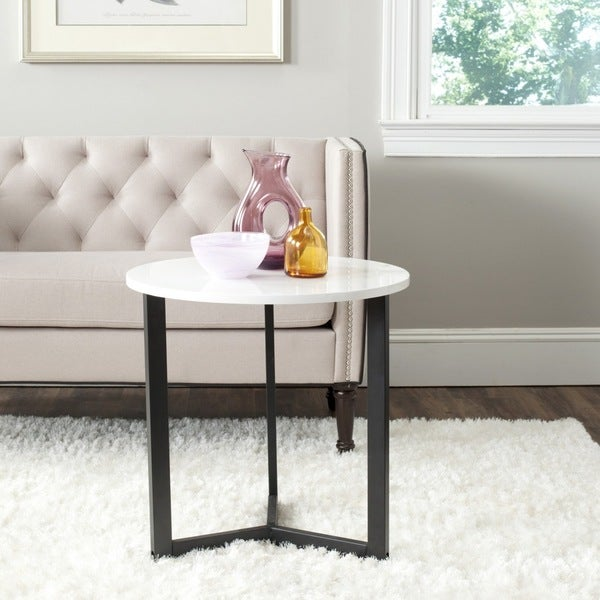 Safavieh Leonard Mid Century Modern Wood White/ Black Lacquer End Table