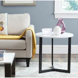 "Safavieh Leonard Mid-century Modern Wood White/ Black Lacquer End Table - 22.8"" x 22.8"" x 22.8"""