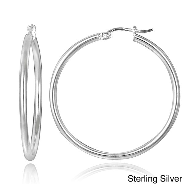 Mondevio Sterling Silver High Polished Round Hoop Earrings