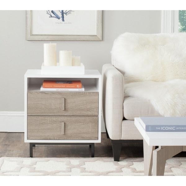 Awesome Safavieh Kefton White, Oak, Black Lacquer Storage Cabinet