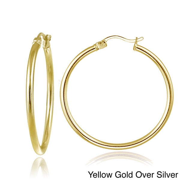 Q Gold Stainless Steel Polished Large Cross Hoop Earrings