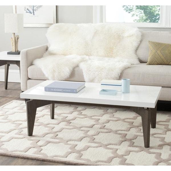Safavieh mid century modern josef white dark brown for White and brown coffee table