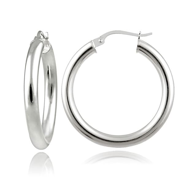 Mondevio Sterling Silver High Polished 25mm Round Hoop Earrings 3mm