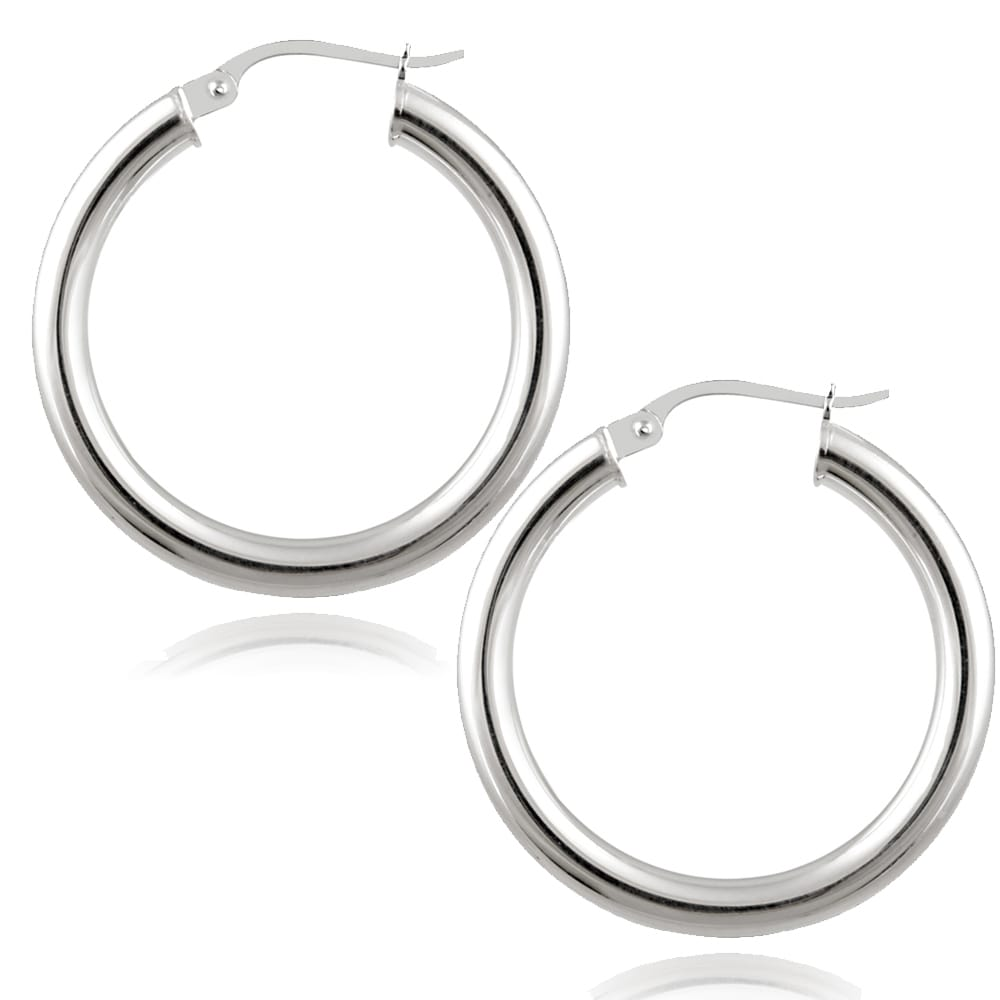 925 Sterling Silver Rhodium-plated Polished Round Twisted Hoop Earrings 3mm x 23mm