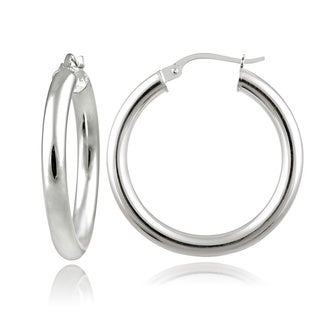 Mondevio Sterling Silver High Polished 25mm Round Hoop Earrings (3mm)