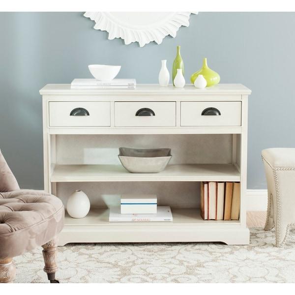 "Safavieh Prudence White Storage Bookshelf Unit - 39.4"" x 13.8"" x 29.9"". Opens flyout."
