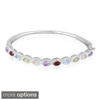 Glitzy Rocks Silvertone Multi-gemstone Diamond Accent Bangle Bracelet