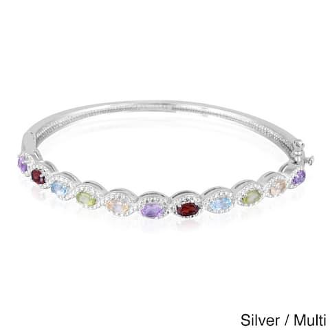 Glitzy Rocks Silvertone Multi-gemstone Diamond Accent Bangle Bracelet