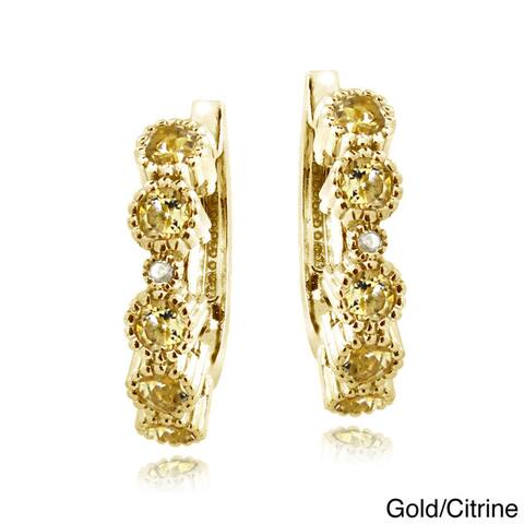 Glitzy Rocks Gemstone and Diamond Accent Hoop Earrings