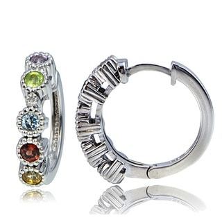 Glitzy Rocks Gemstone and Diamond Accent Hoop Earrings