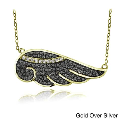 Icz Stonez Sterling Silver Black and White Cubic Zirconia Angel Wing Necklace