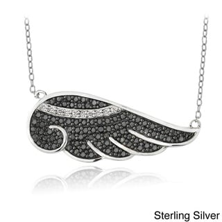 Link to Icz Stonez Sterling Silver Black and White Cubic Zirconia Angel Wing Necklace Similar Items in Tops
