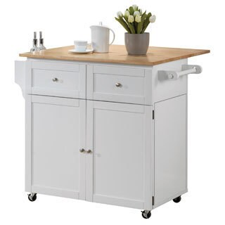 "Coaster Company White Kitchen Storage Cart and Leaf - 31""l x 25 ""dx 35""h"